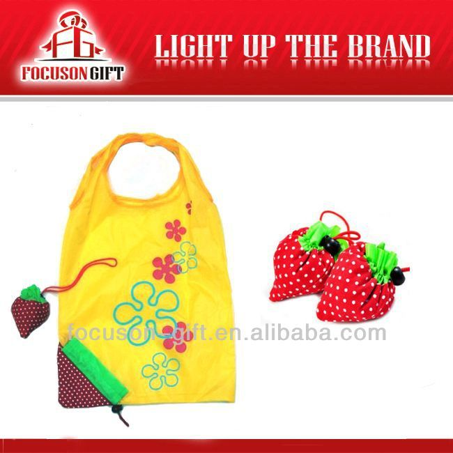 Company Logo Printed Fruit Design strawberry foldable shopping bag