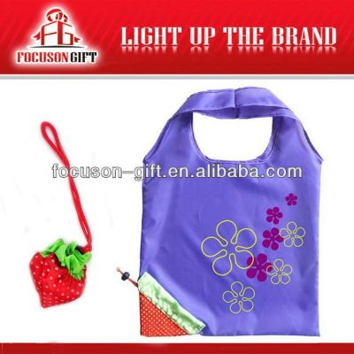 Portable Promotional Logo Printed purple strawberry shopping bag