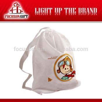 Customized logo branded non woven drawstring bag