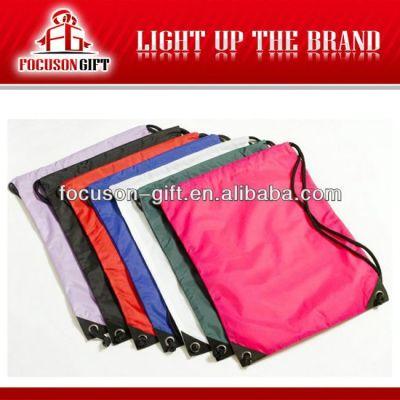 Customized logo branded wholesale cotton fabric drawstring bag