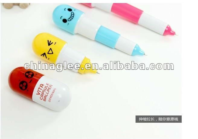 telescopic pen with key chain vitamin ball pen