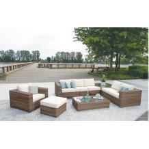 6 pieces outdoor rattan corner sofa set