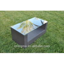 2014 Modern Outdoor Furniture Wicker Glass top Coffee Table