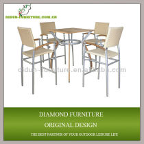 Wicker bar stools and table