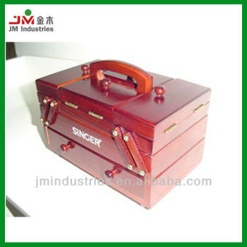 Folding Wood Sewing Kits Box with Handle