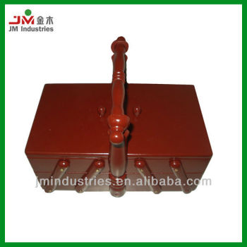 Folding Pine Wood Sewing Box with Handle