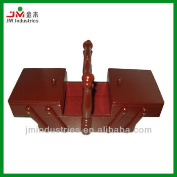Foldable Wood Sewing Box with Handle