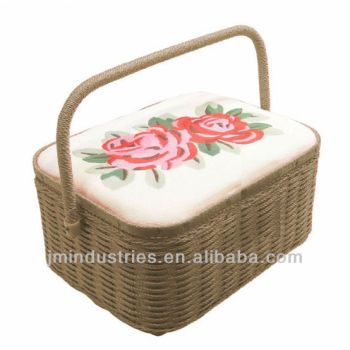 Fabric Wooden Sewing Basket with Handle