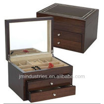 Wood Mirror Jewelry Displays Box with Drawers