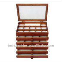 Six-layer Wooden Mirror Jewelry Displays Box