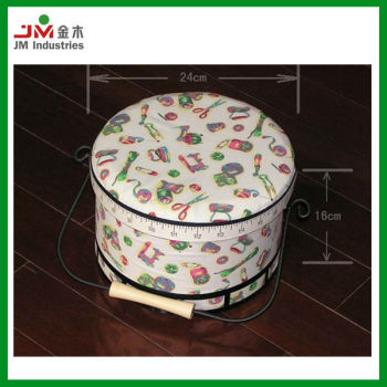 Hardboard Round Sewing Box with handle