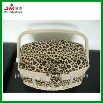 Novelty Leopard Printed Fabric Wooden Sewing Kits Box with Tray Inside
