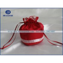 red polyester drawstring bag jewelry