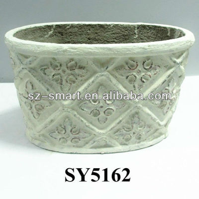 Oval paper mache planter potchina oval papier mache cement flower oval paper mache planter pot mightylinksfo Image collections