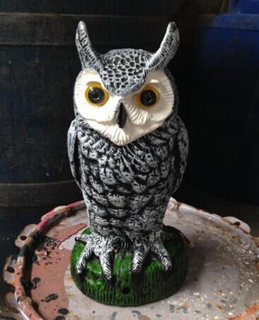 Outdoor Plastic Bird Garden Defense Voice Shiny Owl