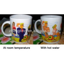 Newest sexy patterns printed temperature sensitive hot water color changing mug
