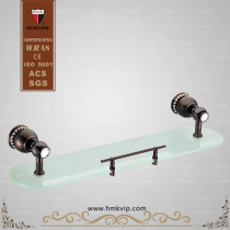 HIMARK Brown-brass bathroom glass shelf with rail