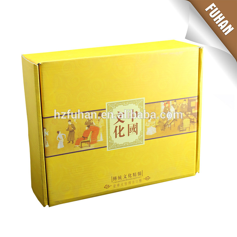 Newest design yellow color Chinese style printing packaging box