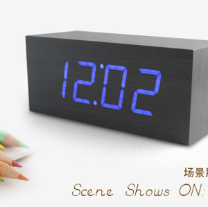 Wholesale ZJ-001K Blue Light Hight Quality MDF Digital Wooden Clcok