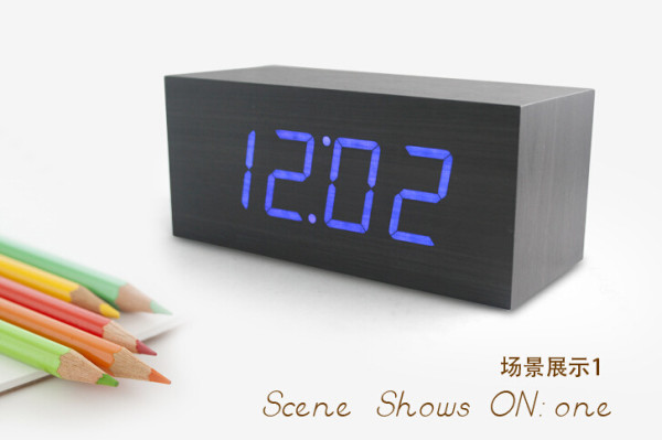 Wholesale ZJ-001K Blue Light Hight Quality MDF Digital Wooden Clcok