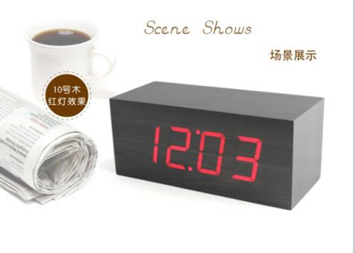 Wholesale ZJ-001K Red Light  Hight Quality MDF Digital Wooden Clcok