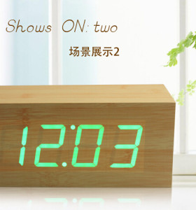 Wholesale ZJ-001K Green Light  Hight Quality MDF Digital Wooden Clcok