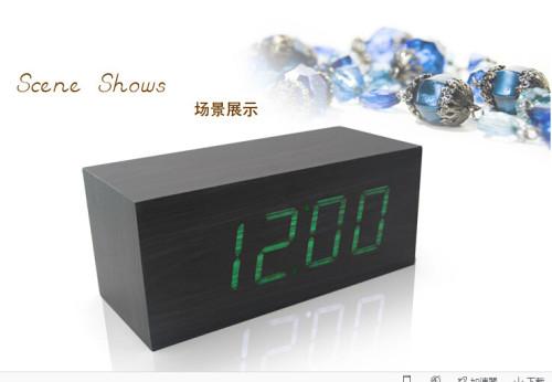 Wholesale ZJ-001K Green Light  Hight Quality MDF Digital Wooden Clcok