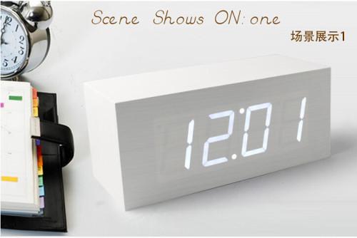 Wholesale ZJ-001K White Light  Hight Quality MDF Digital Wooden Clcok