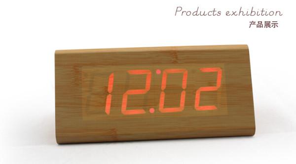 Wholesale ZJ-001SK Red Light  Hight Quality MDF Digital Wooden Clcok