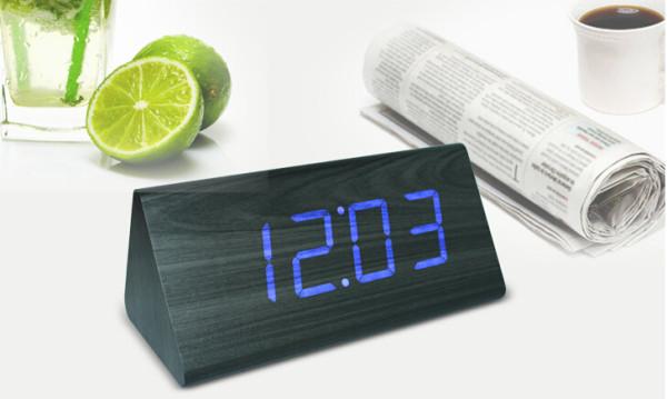 Wholesale ZJ-001SK Blue Light  Hight Quality MDF Digital Wooden Clcok