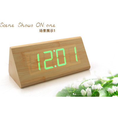 Wholesale ZJ-001SK Green Light  Hight Quality MDF Digital Wooden Clcok