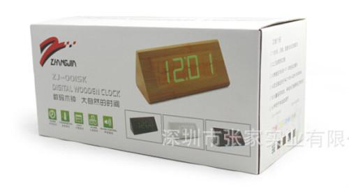 Wholesale ZJ-001SK White Light  Hight Quality MDF Digital Wooden Clcok