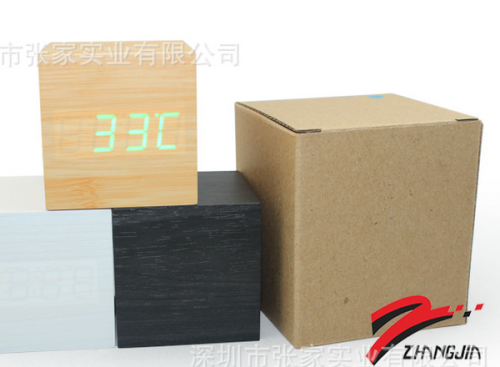 Wholesale ZJ-008 White  Light Square Hight Quality MDF Digital Wooden Clcok