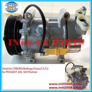 6453JL 6453LN 6453JP 6453KS 6453LS 9646273880 SANDEN 6V12 ac compressor para PEUGEOT 206 307 / CITROEN Berlingo Xsara C2 / C3