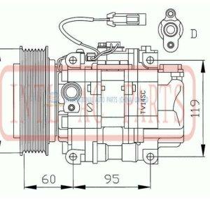 Tv12sc pv7 compressor para alfa 145 155 146 gtv spider 1995-2006 96 97 98 99 00 01 02 03 04 05 06 oem#442500- 2070 447100-0590