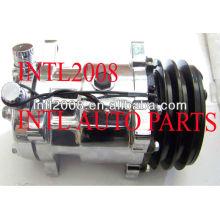 Condicionador de ar universal um cromo/c compressor sanden sd5h14 508 sd508 2a 12v 132mm brand new con air bomba