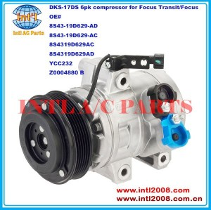 6512761 8S43-19D629-AD 8S43-19D629-AC 8S4319D629AC 8S4319D629AD DKS-17DS/DKS17DS auto ac air con compressor China supply for Ford Transit/Focus