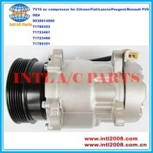 9630014080 71789353 71723461 71723460 71789351 7V16 compressor ac carro para Citroen / Fiat / Lancia / Peugeot / Renault PV6