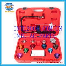 Auto sistema de arrefecimento radiador tampa de pressão junta da cabeça teste de vazamento Detector / Tester Kit contador bomba adaptadores