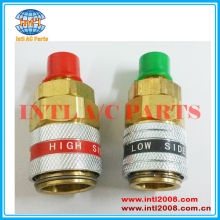 R134A 180 Straight Auto Car Refrigerant QUICK COUPLER Adapter Connector Set High & Low Side
