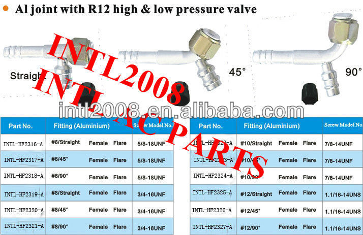 female flare barb hose fitting /connector/coupling with Al joint R12 high and low pressure value for wholesale and retail