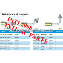 #12 90 degree Oring beadlock fitting quick joint /connector/coupling with iron jacket cap for wholesale and retail