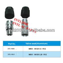 r12 auto condicionador de ar de alumínio sede da válvula da mangueira fittingsvalve seat mangueira adaptador conector da mangueira de engate da mangueira
