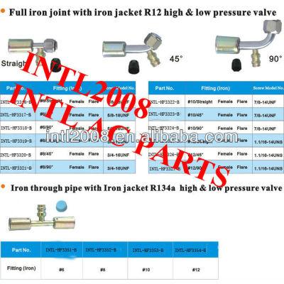 Auto ar condicionado montagem fêmea flare montagem mangueira/conector/acoplamento com ampla conjunta de ferro de ferro revestimento r12 válvula
