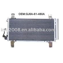 Auto condensador para mazda familia/ china auto condensador fabricação/ china condensador fornecedor