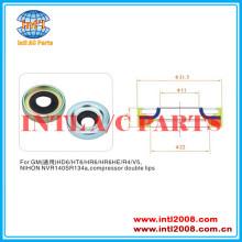 Air compressor ac eixo lábio de vedação para a gm hd6/ht6/hr6/hr6he/r4/v5 nihon nvr140s r134a compressor duplo lábios