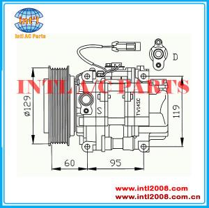TV12SC PV7 -130mm Compressor for Alfa 145 155 146 GTV Spider 1995-2006 96 97 98 99 00 01 02 03 04 05 06 OEM#442500-2070 447100-0590  China auto ac  factory