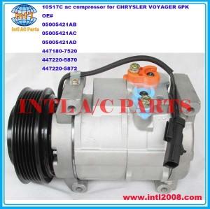 denso 10S17C auto ac compressor for CHRYSLER VOYAGER (MK) III 05005421AB 05005421AC 05005421AD 5005421AB 5005421AC 5005421AD