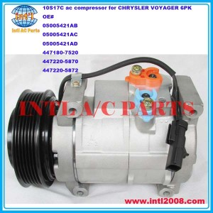 denso 10S17C auto ac compressor for CHRYSLER VOYAGER (MK) III 05005421AB 05005421AC 05005421AD 5005421AB 5005421AC 5005421AD