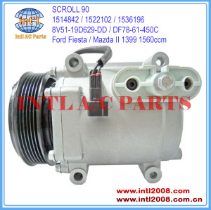 Made in China SCROLL 90 Ford Fiesta VI / Mazda II 1.4 1.6 1399 1560ccm 2007- ac compressor 1536196 DF78-61-450C 8V51-19D629-DF